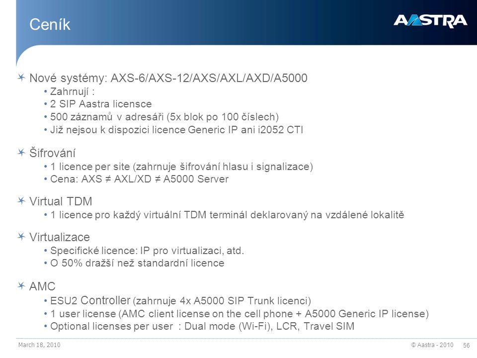 Ceník Nové systémy: AXS-6/AXS-12/AXS/AXL/AXD/A5000 Šifrování