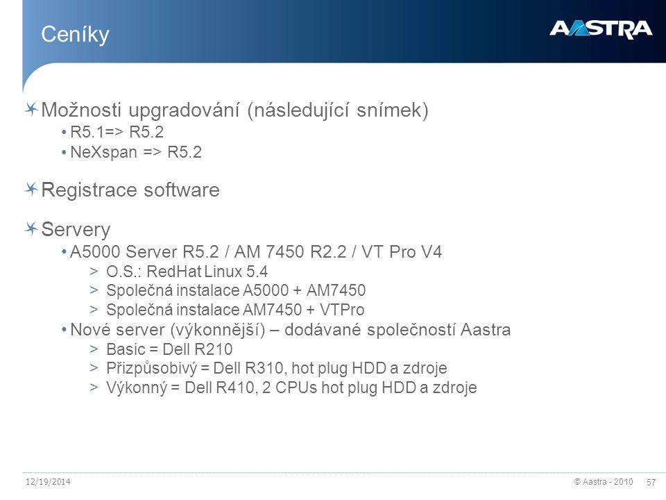 Ceníky Možnosti upgradování (následující snímek) Registrace software