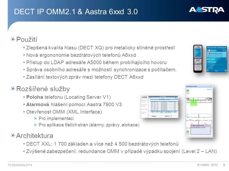 DECT IP OMM2.1 & Aastra 6xxd 3.0 Použití Rozšířené služby Architektura