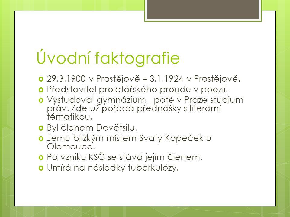 Úvodní faktografie 29.3.1900 v Prostějově – 3.1.1924 v Prostějově.