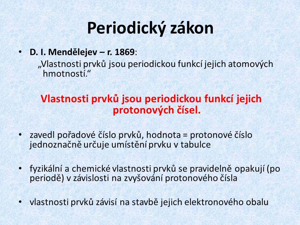 Vlastnosti prvků jsou periodickou funkcí jejich protonových čísel.