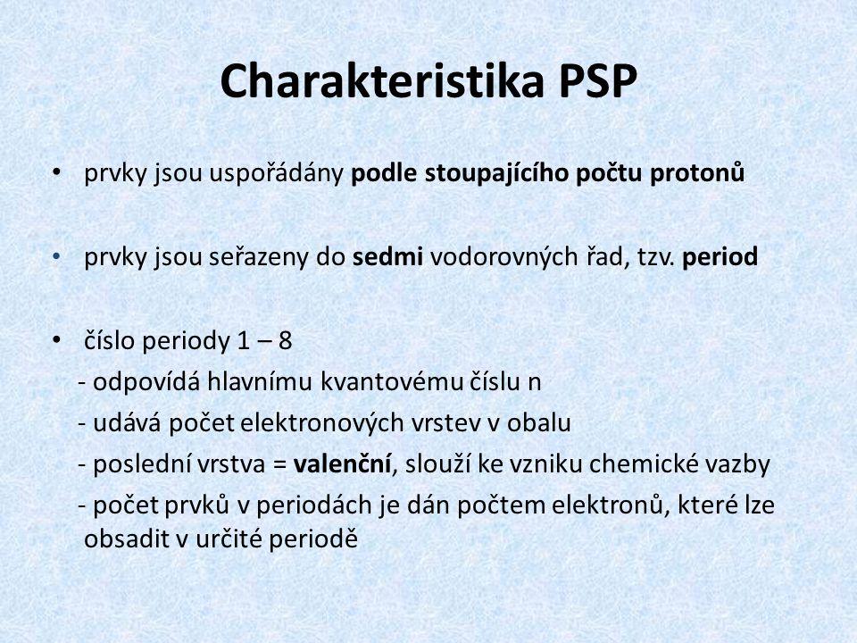 Charakteristika PSP prvky jsou uspořádány podle stoupajícího počtu protonů. prvky jsou seřazeny do sedmi vodorovných řad, tzv. period.