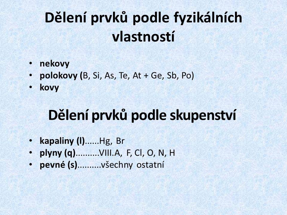 Dělení prvků podle fyzikálních vlastností