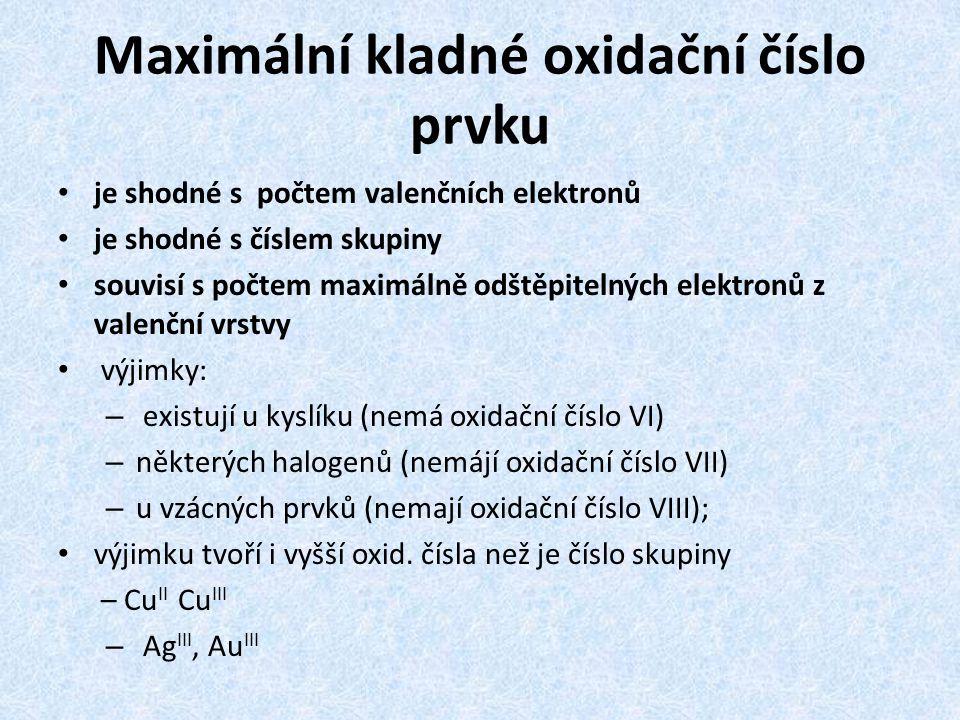 Maximální kladné oxidační číslo prvku