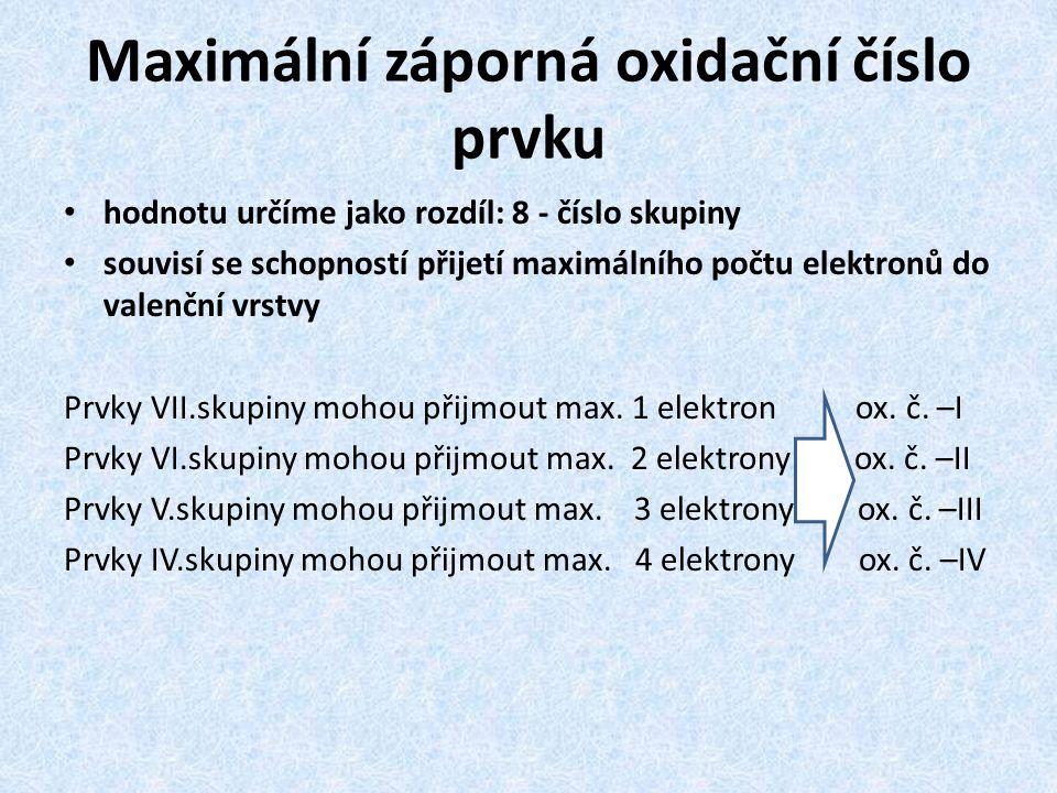 Maximální záporná oxidační číslo prvku