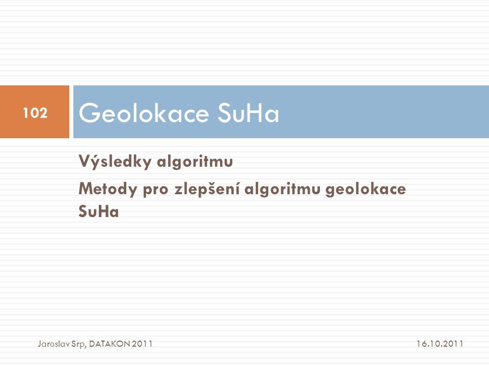 Geolokace SuHa Výsledky algoritmu