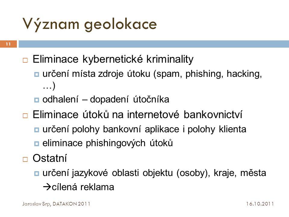 Význam geolokace Eliminace kybernetické kriminality