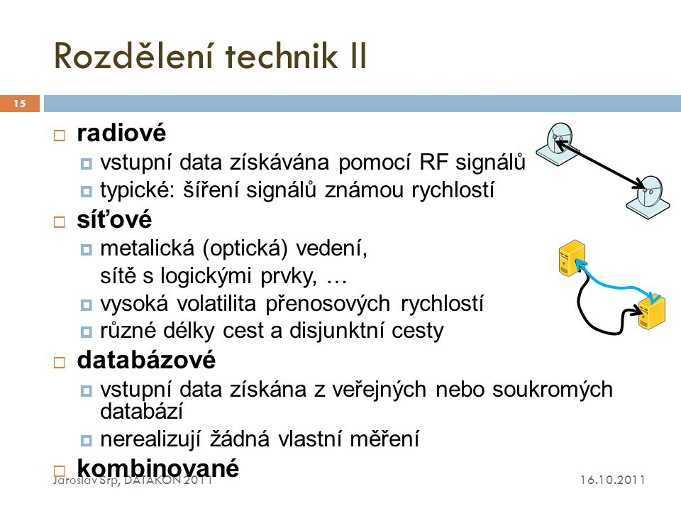 Rozdělení technik II radiové síťové databázové kombinované
