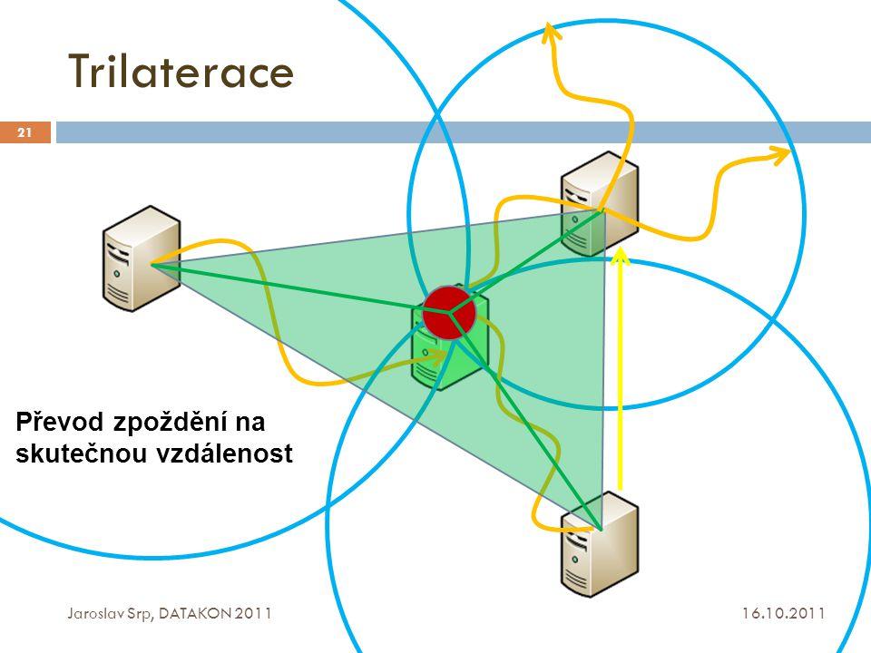 Trilaterace Převod zpoždění na skutečnou vzdálenost