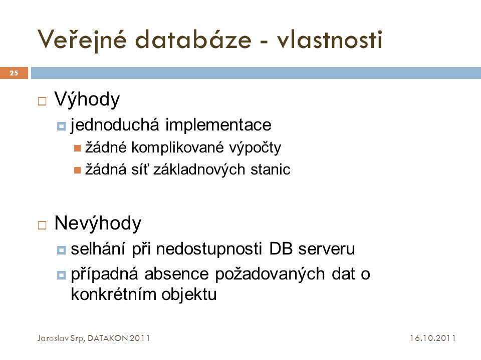 Veřejné databáze - vlastnosti