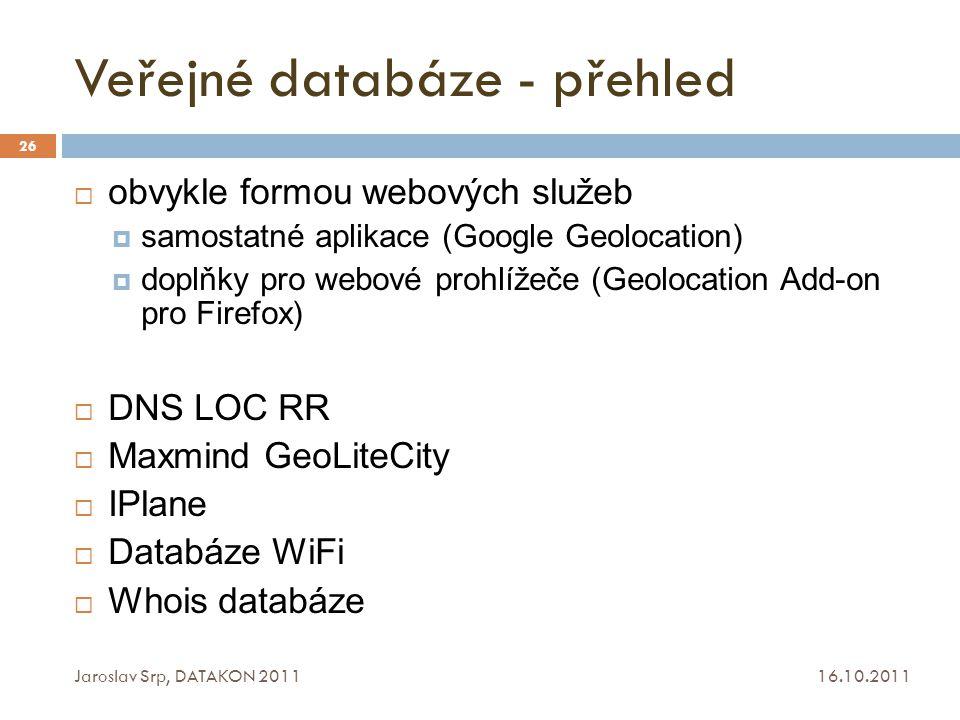 Veřejné databáze - přehled