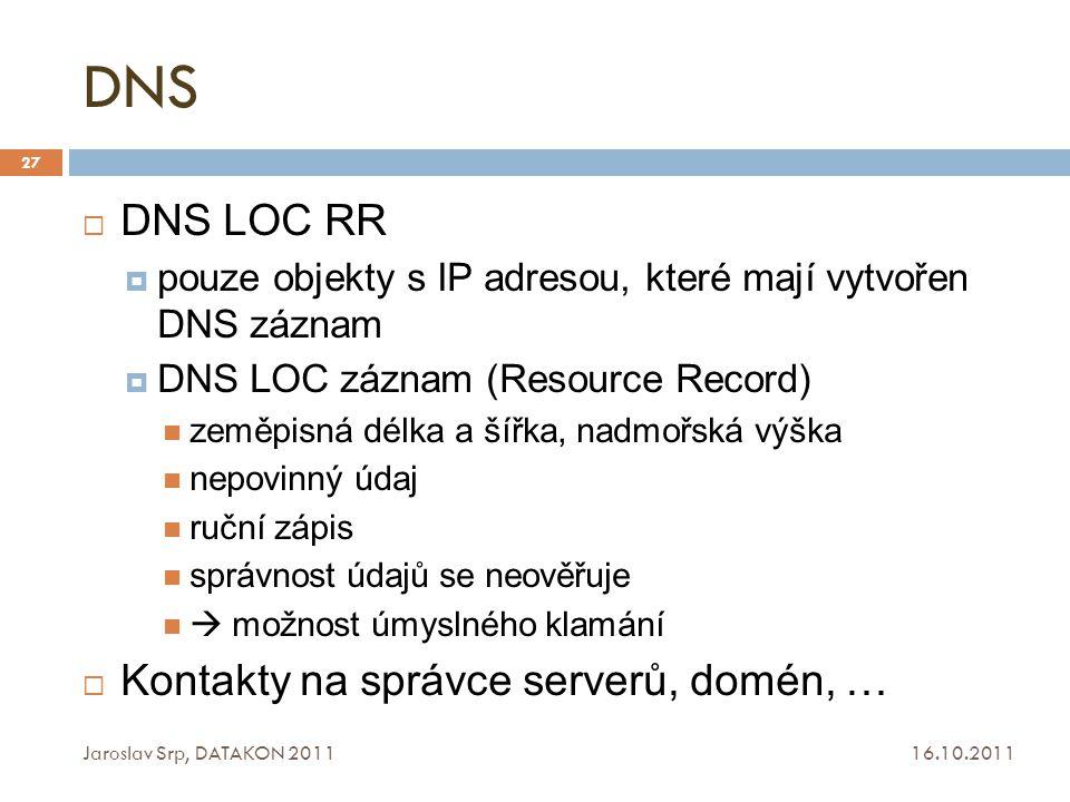 DNS DNS LOC RR Kontakty na správce serverů, domén, …