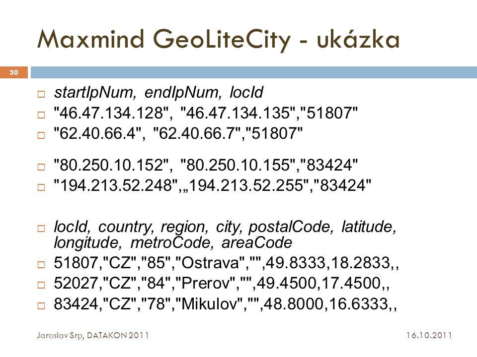 Maxmind GeoLiteCity - ukázka