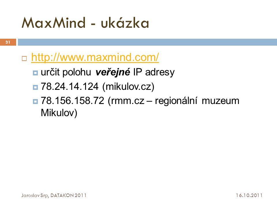 MaxMind - ukázka http://www.maxmind.com/
