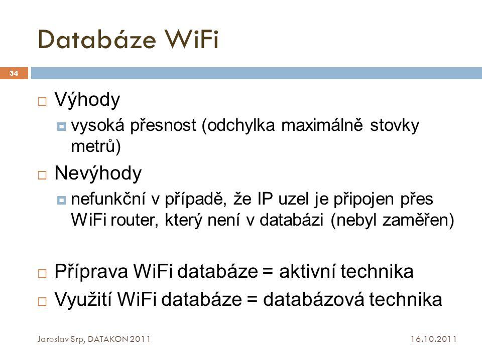 Databáze WiFi Výhody Nevýhody