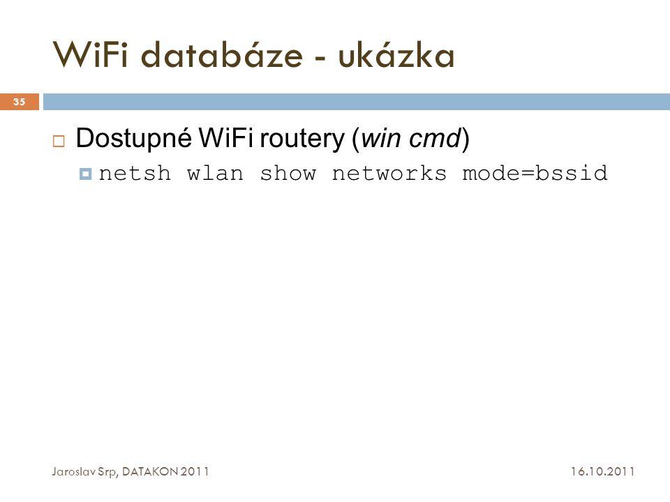 WiFi databáze - ukázka Dostupné WiFi routery (win cmd)