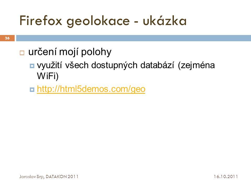 Firefox geolokace - ukázka