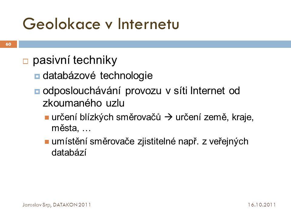 Geolokace v Internetu pasivní techniky databázové technologie