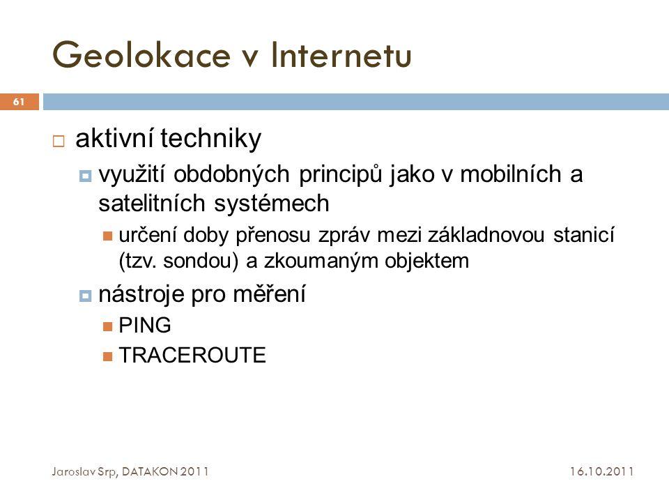 Geolokace v Internetu aktivní techniky