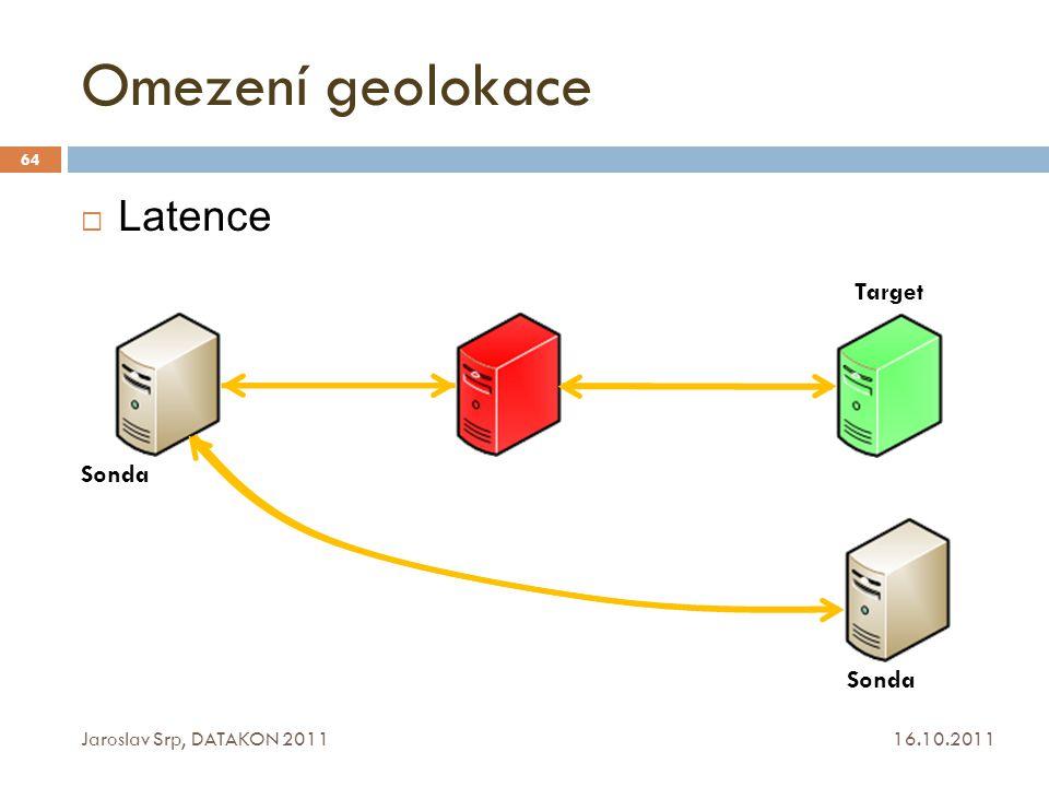 Omezení geolokace Latence Target Sonda Sonda