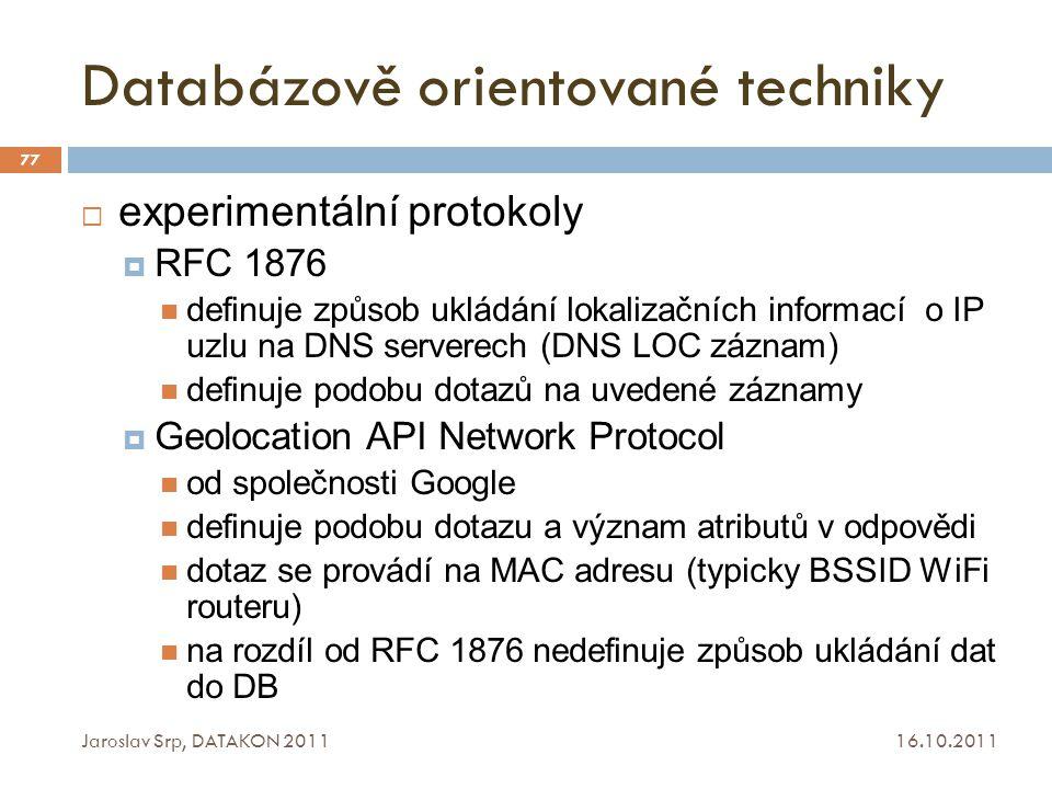 Databázově orientované techniky