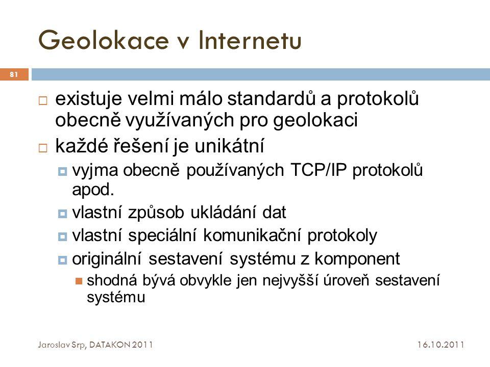 Geolokace v Internetu existuje velmi málo standardů a protokolů obecně využívaných pro geolokaci. každé řešení je unikátní.