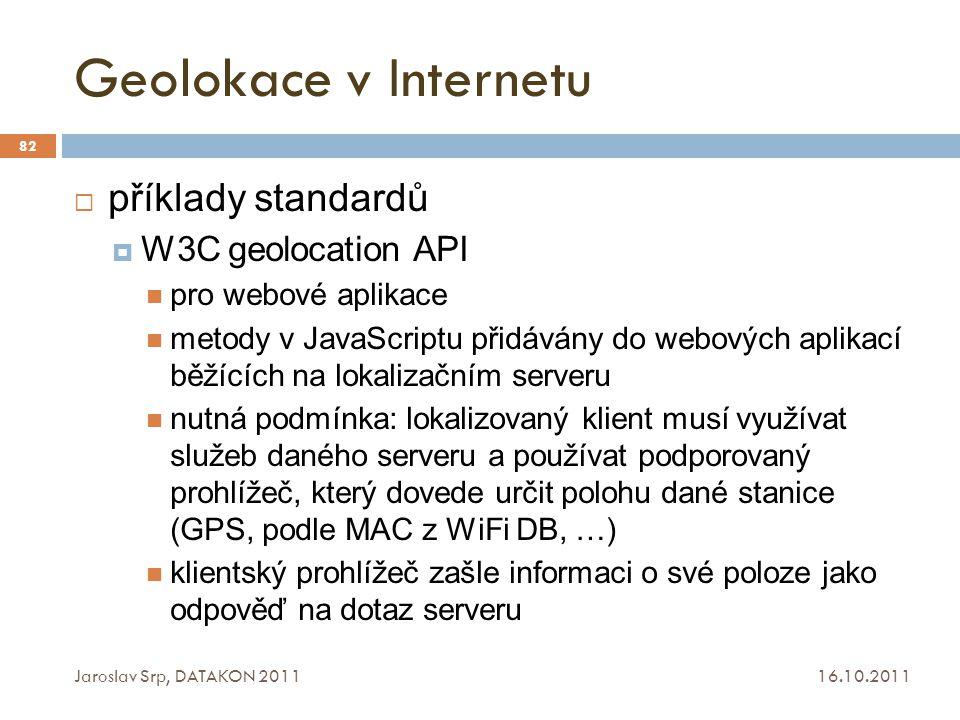 Geolokace v Internetu příklady standardů W3C geolocation API