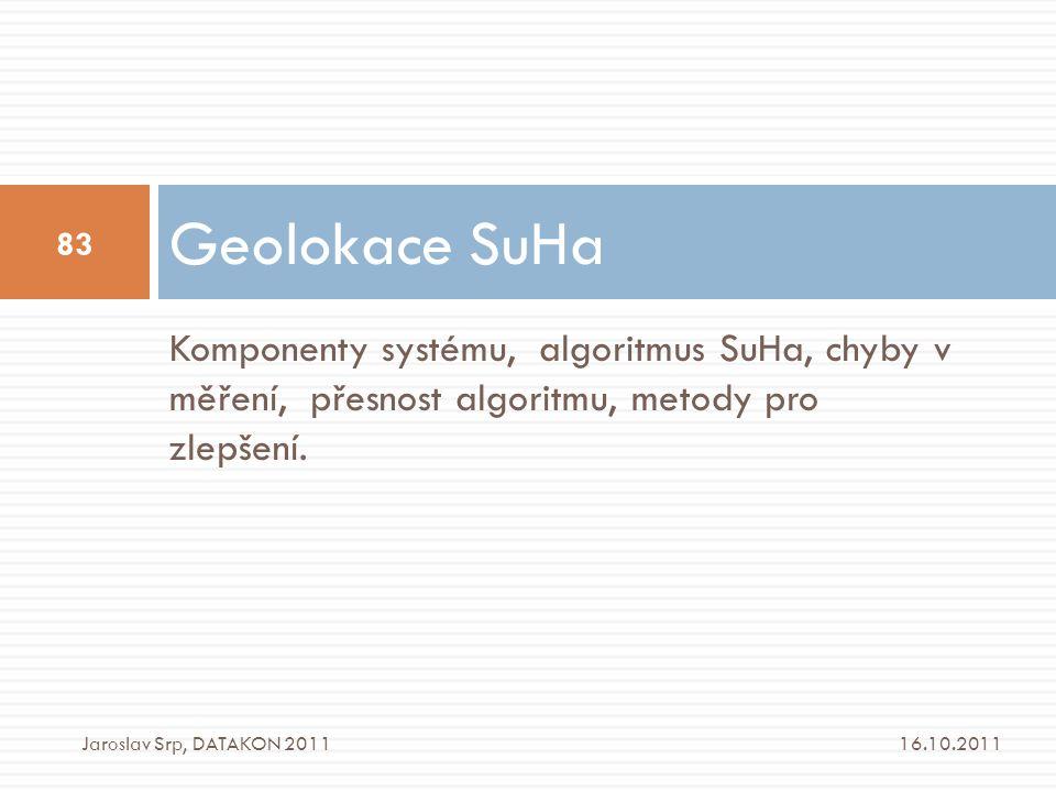 Geolokace SuHa Komponenty systému, algoritmus SuHa, chyby v měření, přesnost algoritmu, metody pro zlepšení.
