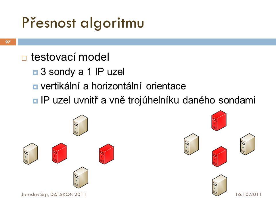 Přesnost algoritmu testovací model 3 sondy a 1 IP uzel
