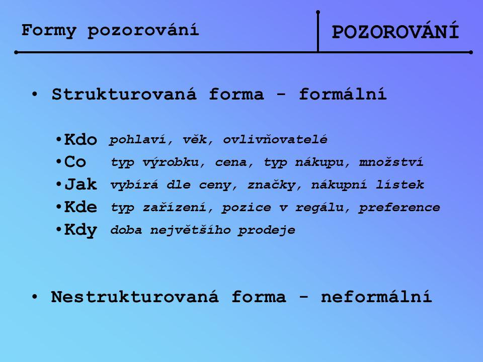 POZOROVÁNÍ Formy pozorování Strukturovaná forma - formální Kdo Co Jak