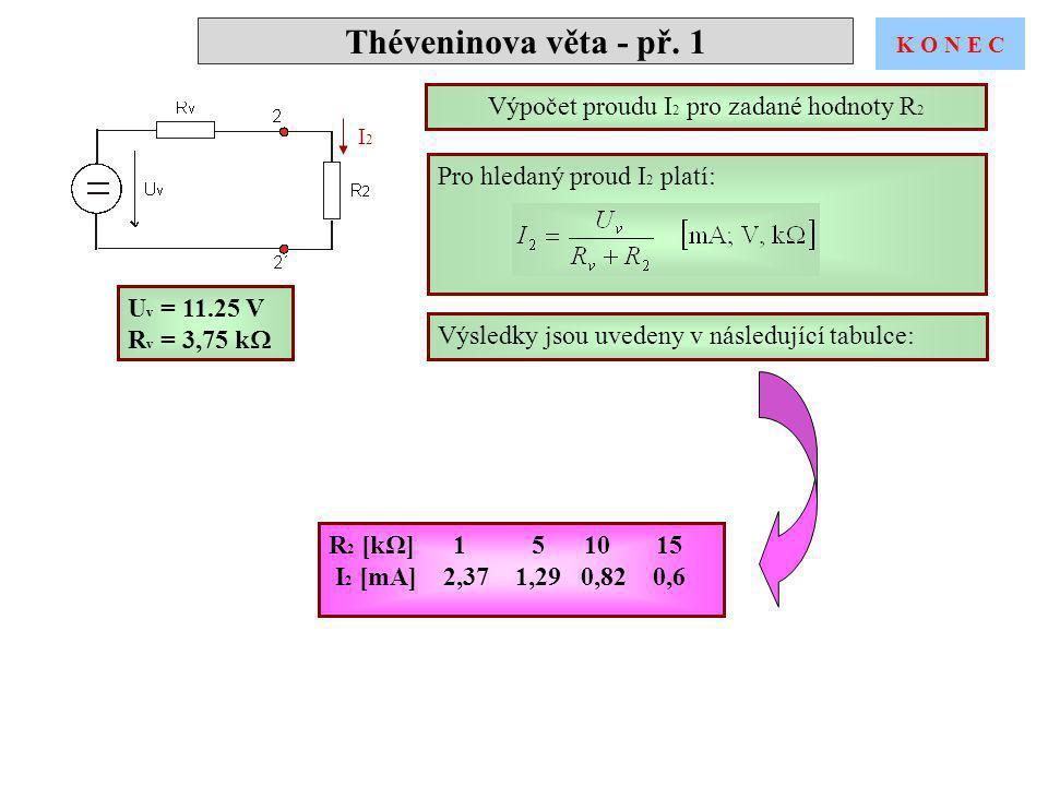 Výpočet proudu I2 pro zadané hodnoty R2