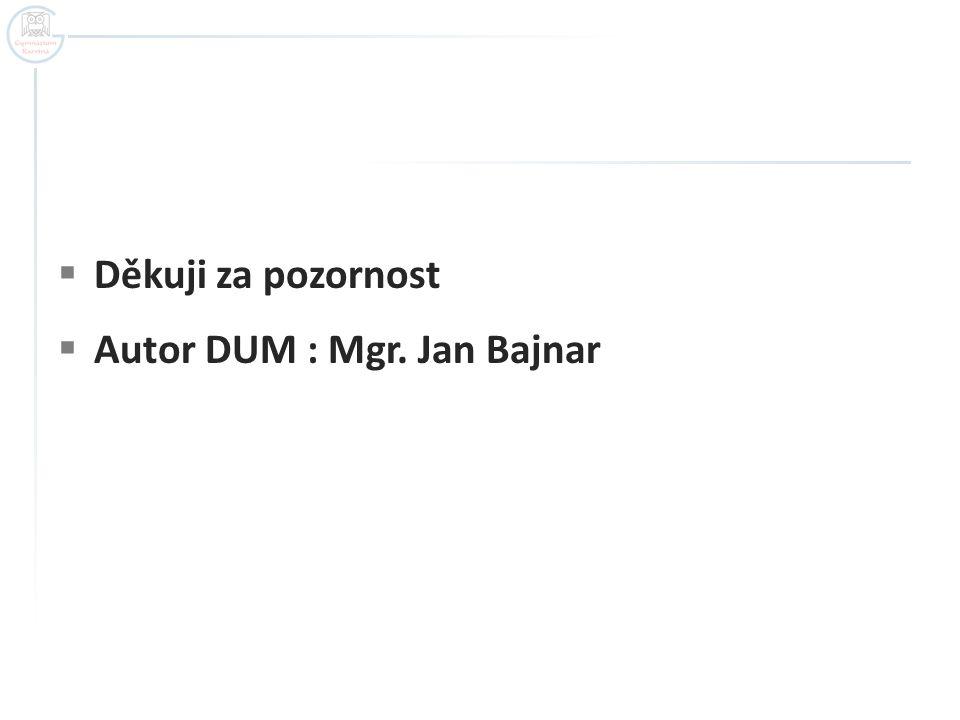 Děkuji za pozornost Autor DUM : Mgr. Jan Bajnar