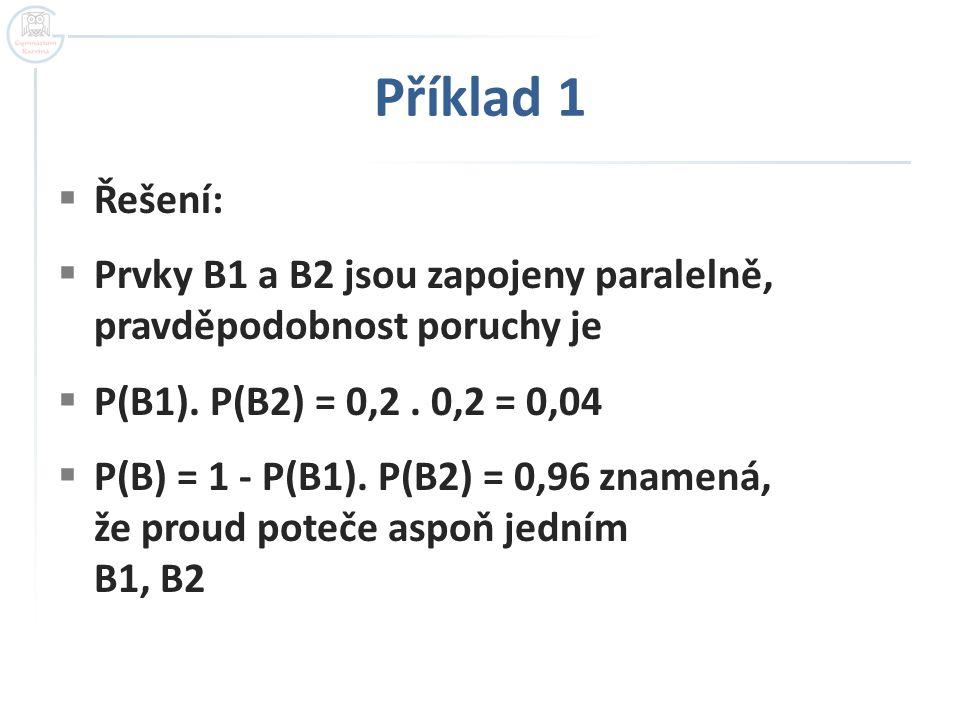 Příklad 1 Řešení: Prvky B1 a B2 jsou zapojeny paralelně, pravděpodobnost poruchy je. P(B1). P(B2) = 0,2 . 0,2 = 0,04.
