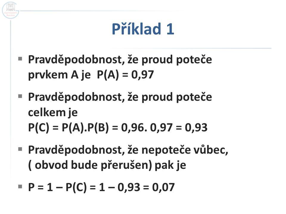 Příklad 1 Pravděpodobnost, že proud poteče prvkem A je P(A) = 0,97
