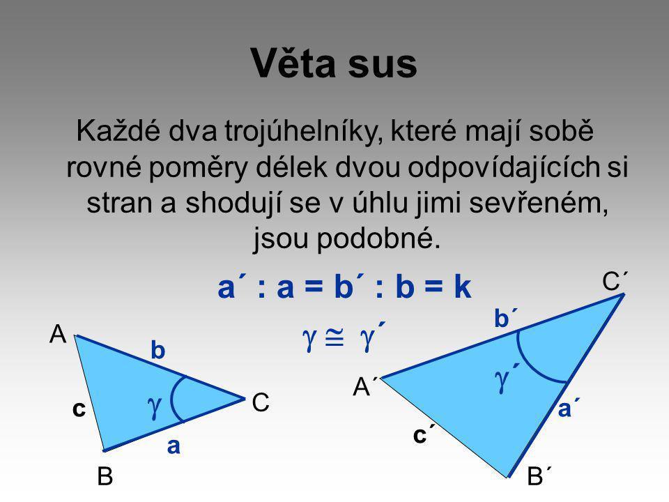 Věta sus a´ : a = b´ : b = k g  g´ g´ g