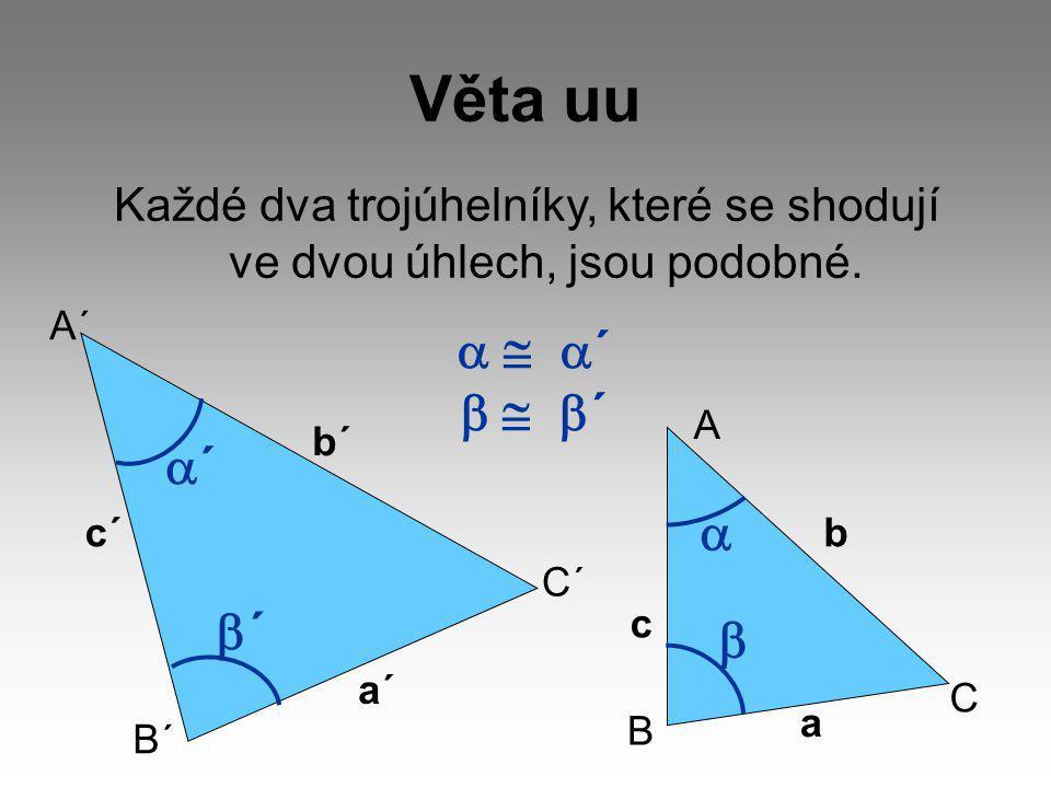 Každé dva trojúhelníky, které se shodují ve dvou úhlech, jsou podobné.