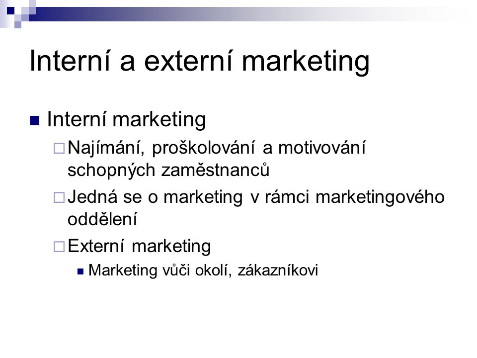 Interní a externí marketing