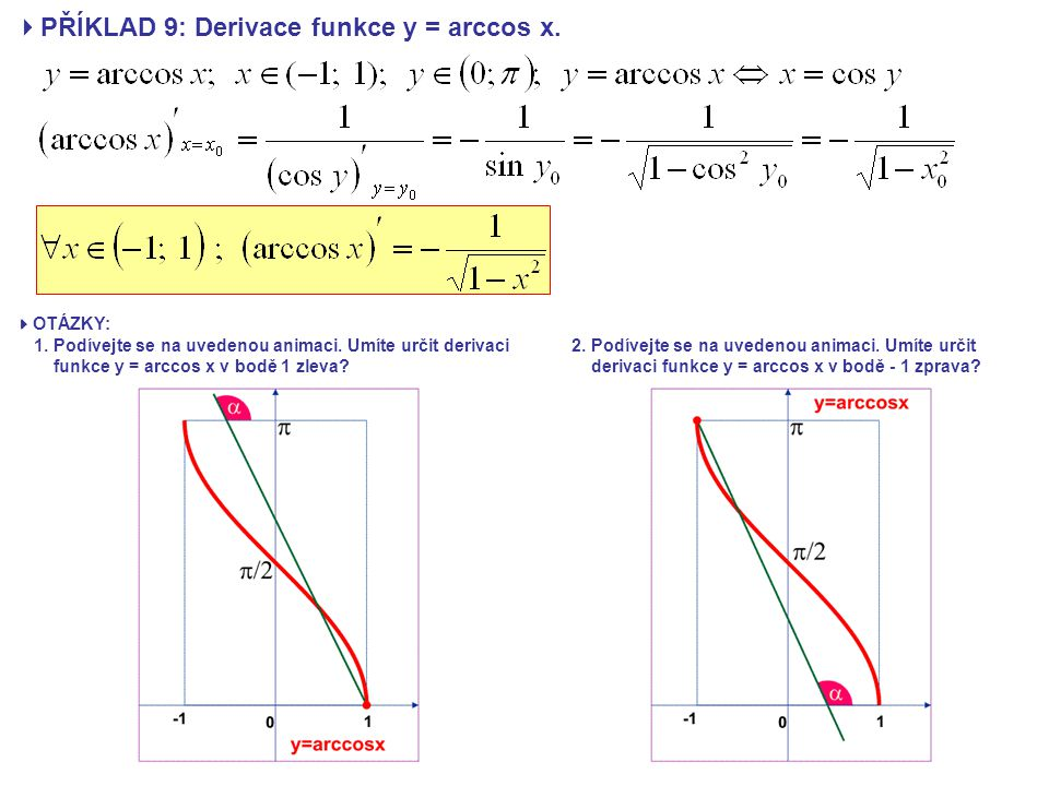 PŘÍKLAD 9: Derivace funkce y = arccos x.
