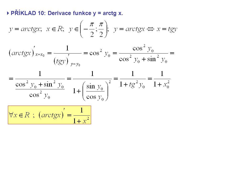 PŘÍKLAD 10: Derivace funkce y = arctg x.
