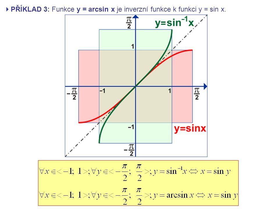 PŘÍKLAD 3: Funkce y = arcsin x je inverzní funkce k funkci y = sin x.