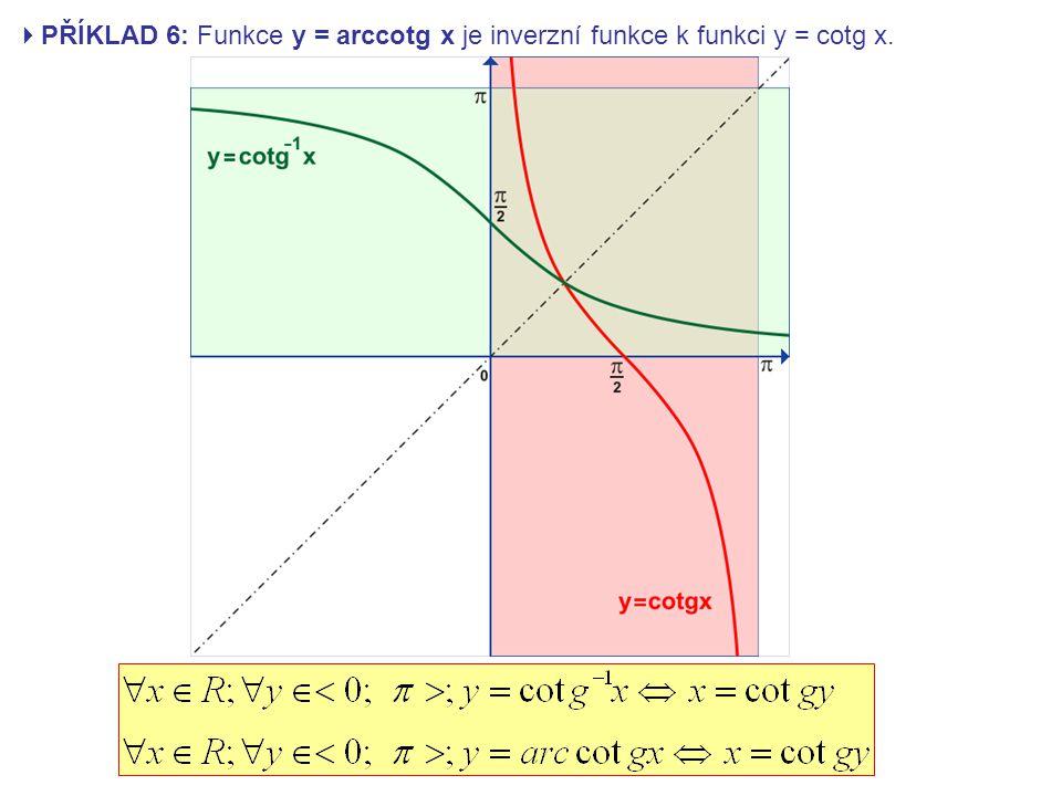 PŘÍKLAD 6: Funkce y = arccotg x je inverzní funkce k funkci y = cotg x.