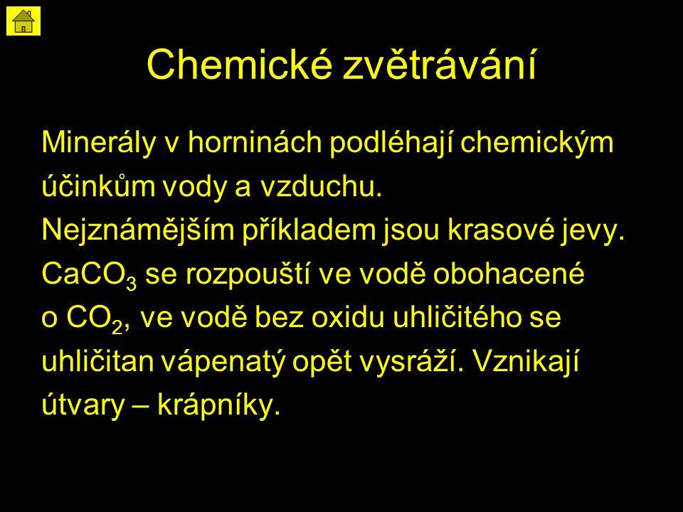 Chemické zvětrávání Minerály v horninách podléhají chemickým