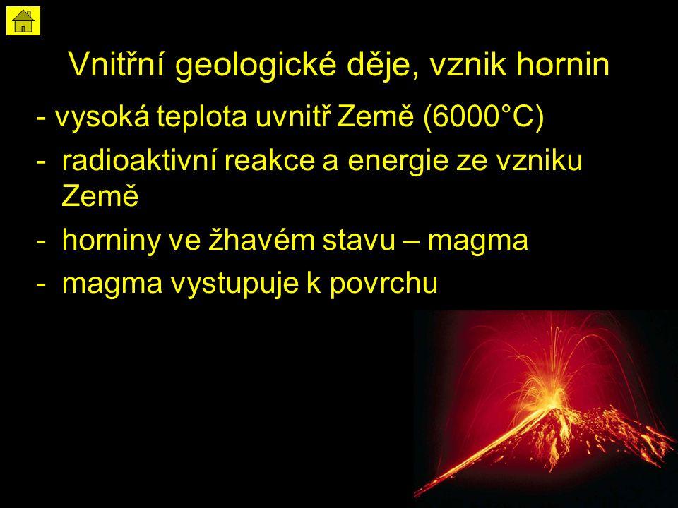 Vnitřní geologické děje, vznik hornin