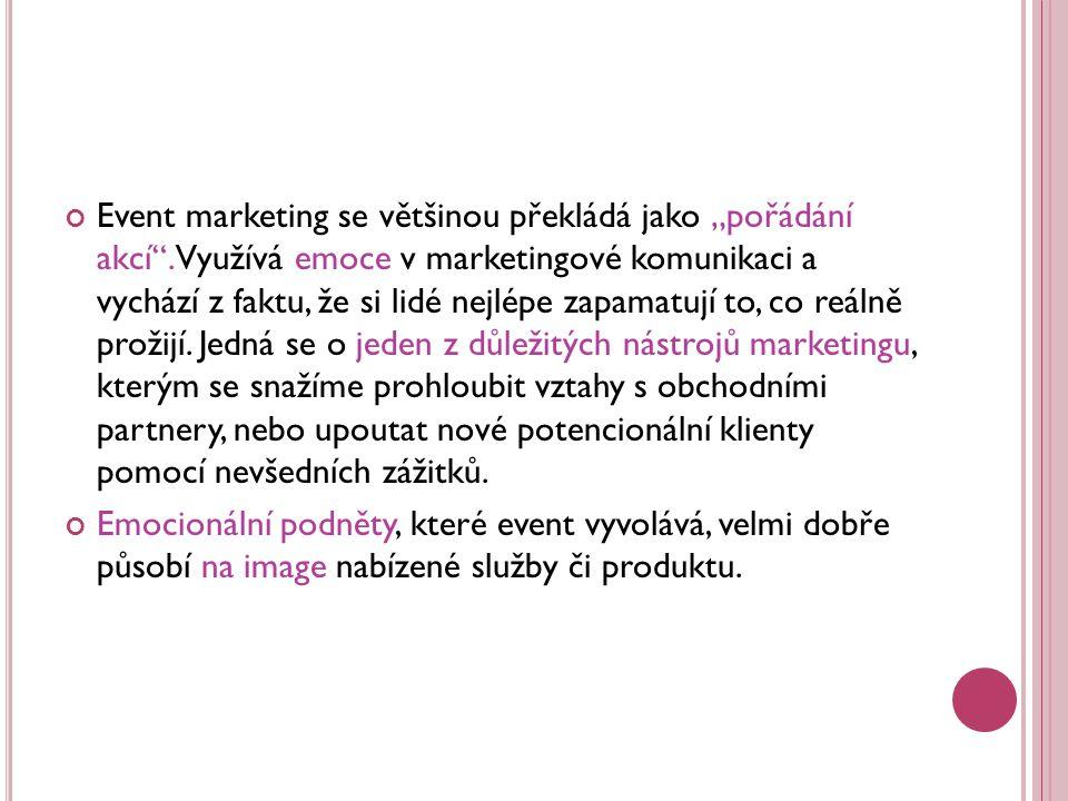 """Event marketing se většinou překládá jako """"pořádání akcí"""