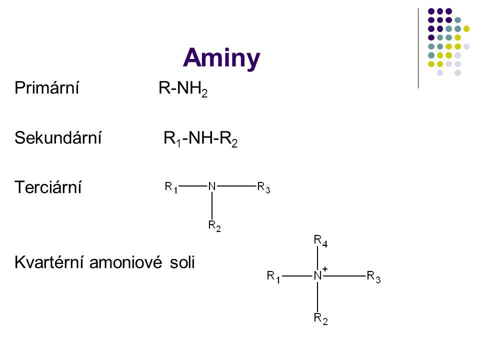 Aminy Primární R-NH2 Sekundární R1-NH-R2 Terciární