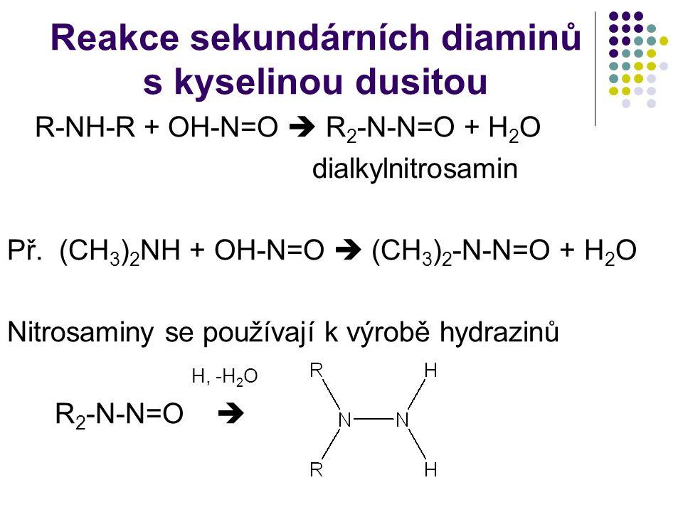Reakce sekundárních diaminů s kyselinou dusitou