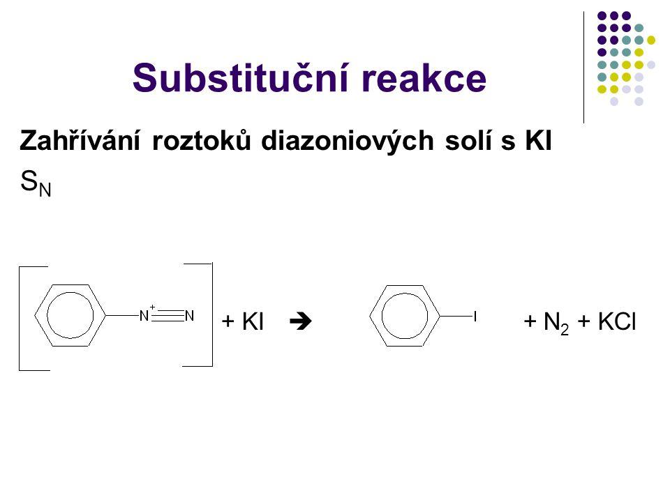 Substituční reakce Zahřívání roztoků diazoniových solí s KI SN