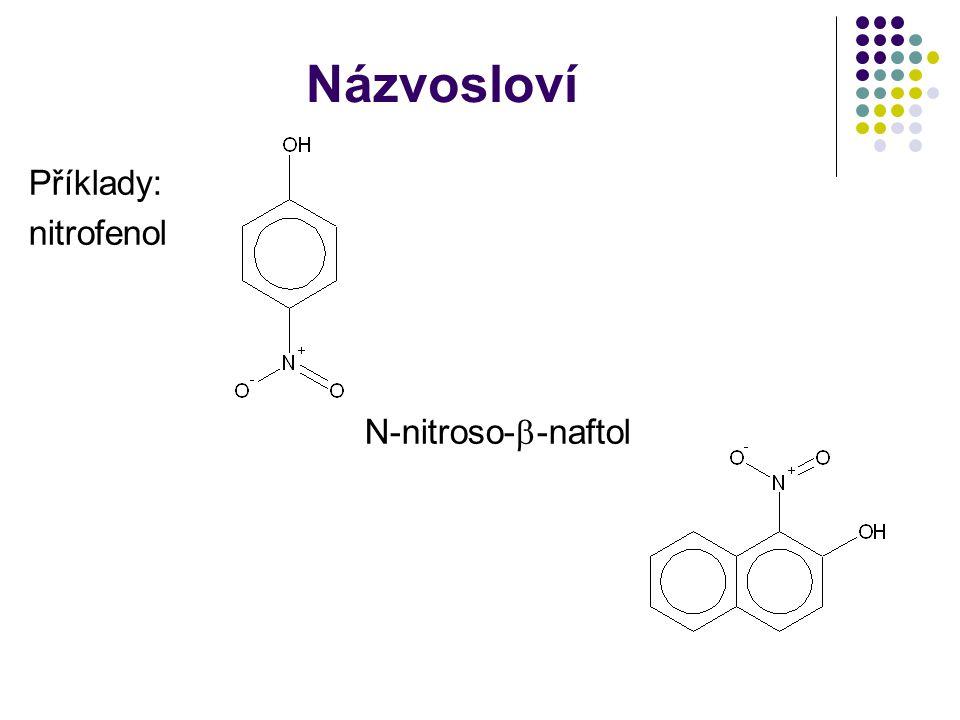 Názvosloví Příklady: nitrofenol N-nitroso--naftol