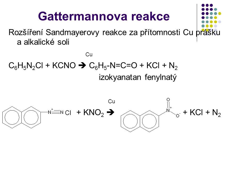 Gattermannova reakce Rozšíření Sandmayerovy reakce za přítomnosti Cu prášku a alkalické soli. Cu. C6H5N2Cl + KCNO  C6H5-N=C=O + KCl + N2.