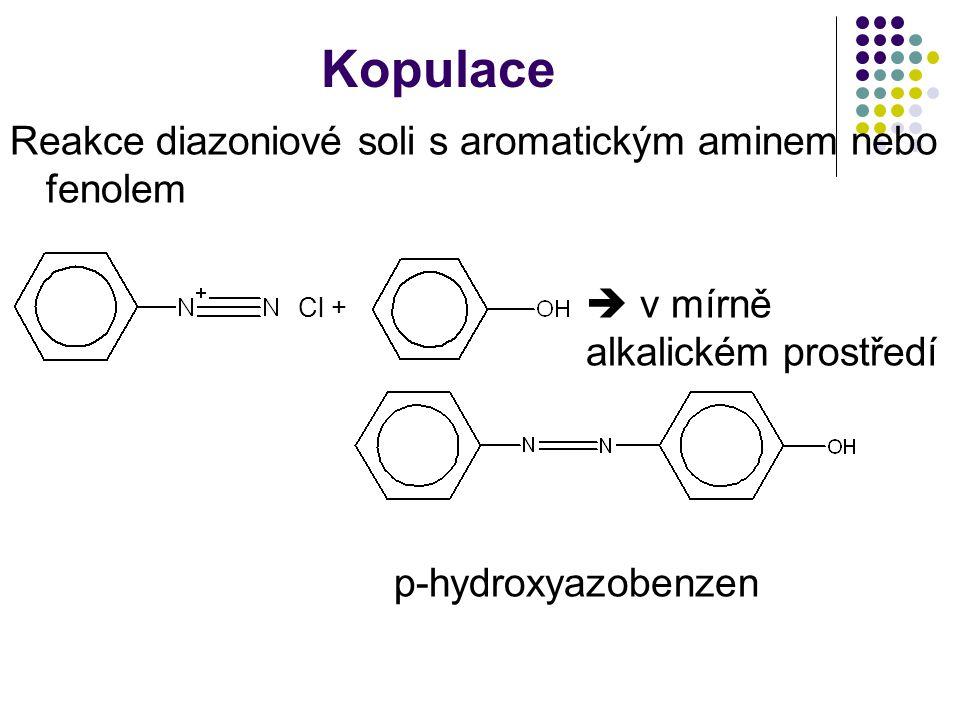 Kopulace Reakce diazoniové soli s aromatickým aminem nebo fenolem